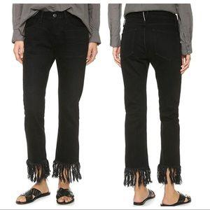 3x1 Black Tango WM3 Fringe Ankle Jeans